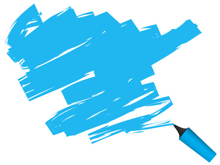 highlighter: Vector - 3D highlighter pen drawing on paper.