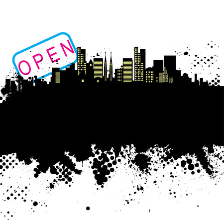 Vector - Halftone ink splat grunge city background for text. Stock Vector - 2848358