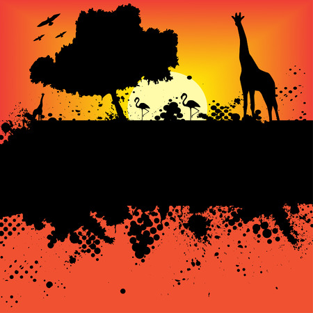 Vector - Halftone ink splat grunge background with african safari theme. Vector