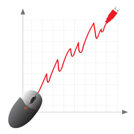 Vector - Online shopping ecommerce concept with mouse showing increase in profits. Vector