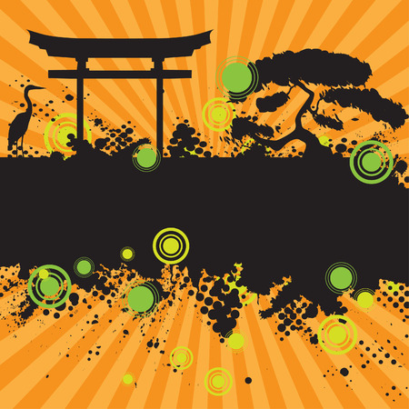 Vector - Halftone ink splat grunge background with retro asian chinese style theme. Vector