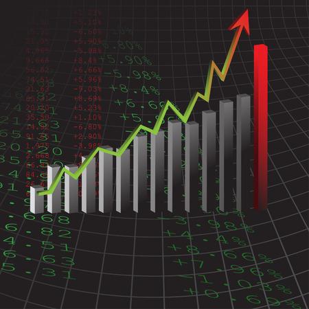 earnings: Vector - Diagramm zeigt Anstieg der Gewinne oder Eink�nfte in 3D mit Schatten.