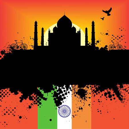 india city: Vector - India Grunge citt� al tramonto con il Taj Mahal  Vettoriali