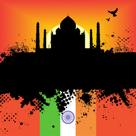 Vector - India Grunge city at sunset with the Taj Mahal