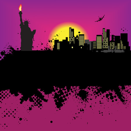 old new york: Vector - New York Grunge city at sunset with the statue of liberty Illustration
