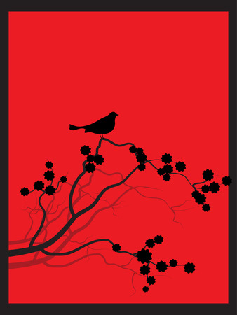 Vector - Japanese spring flower zen style with bird perched on the branch. Vector