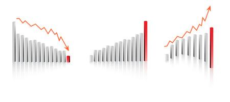 perdidas y ganancias: Vector - 3D beneficio empresarial p�rdida gr�fico o tabla.  Vectores