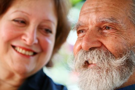Old aged happy and loving couple living out retirement years. Stock Photo - 3042240