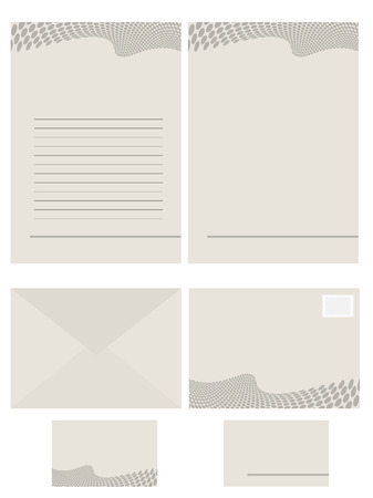 office use: Vector - Paper stationery series for office use, contains memo, fax, envelope and business card. Illustration