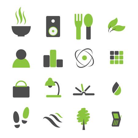 Vector - Green symbol icon set for modern company logo. Illustration