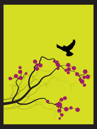 Vector - Japanese spring flower zen style with bird flying towards a branch. Illustration