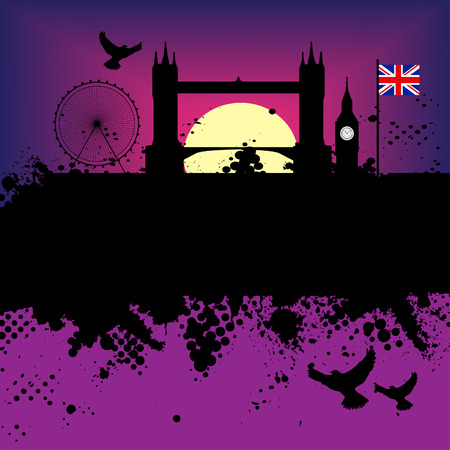 Vector - London Grunge city at sunset with the tower bridge and big ben Vector