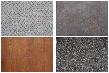 Texture Series - Set of 4, diamond plate aluminum, steel sheet, wooden floor, stone gravel. photo