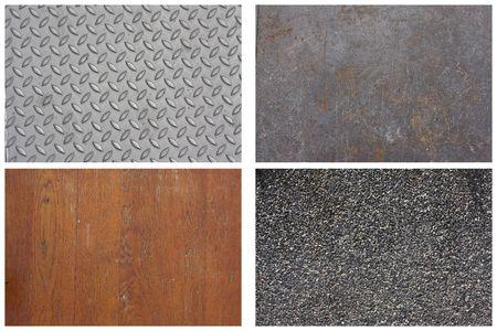 Texture Series - Set of 4, diamond plate aluminum, steel sheet, wooden floor, stone gravel. photo