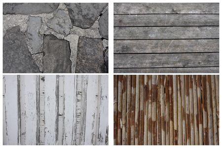 Texture Series - Set of 4, stone floor, wooden plank, wooden wall, ratan, bamboo floor photo