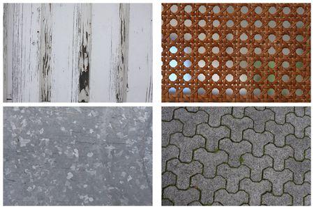 Texture Series - Set of 4, wooden plank, ratan, galvanized steel, concrete tiles Stock Photo - 3064036