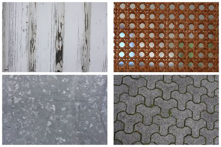 Texture Series - Set of 4, wooden plank, ratan, galvanized steel, concrete tiles photo