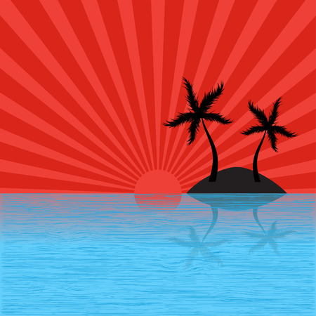 retro sunrise: Vector - Tropical island with sun burst effect. Vacation concept. Illustration