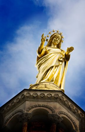 Mary Magdalene, mother of jesus, reaching out with open hand photo