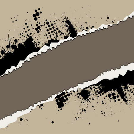 Vector - Ripped torn paper with retro ink splat. Vector