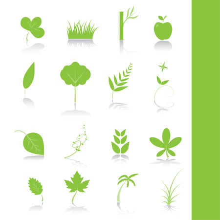 lawns: Vector - Green plants, leaves, trees icon symbol set.