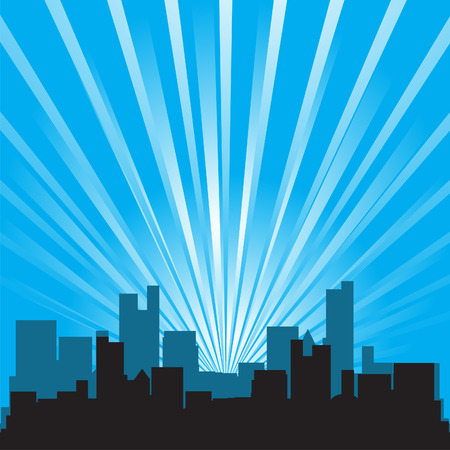 Vector - Office building and skycrapper silhouette against star burst background. Stock Vector - 3134565