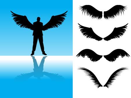 Vector - Sammlung von detaillierten Business-Angels-oder Vogel-Flügel.