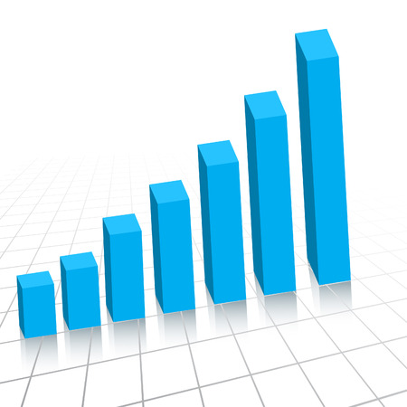 yearly: Vector - Business profit growth graph chart with reflection