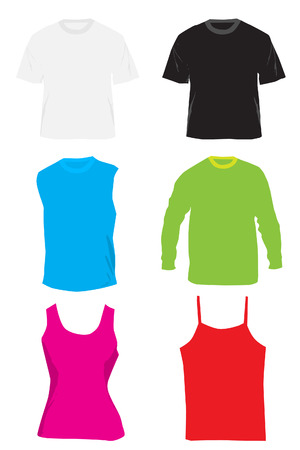 changed: Vector - Blank shirts and tshirts. Colors can be changed and text inserted. Illustration