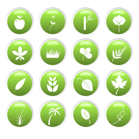 Vector - Green environment 3D glassy icons with nature theme Vector