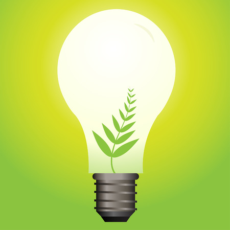 gas lamp: Vector - Ecological or green light bulb with leaf as the filament.