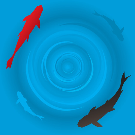 zen vector: Vector - Japanese koi or carp fish swimming in a circle. Illustration