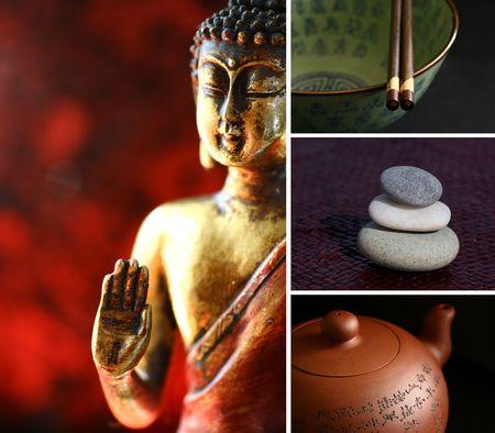 ancient yoga: Composition of images - buddha, stones, teapot, chopsticks. Zen lifestyle.