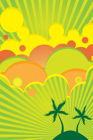 Vector - 70s retro colorful summer party poster with beach theme. Vector