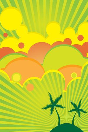 传染媒介 -  70s减速火箭的五颜六色的夏天党海报与海滩主题。