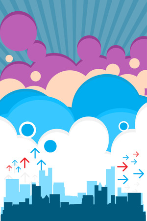 Vector - Urban retro city with colorful clouds. Stock Vector - 3569254