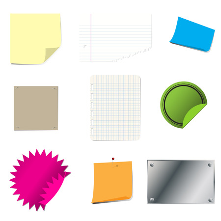 postit note: Vector - Sticky paper set with page curl