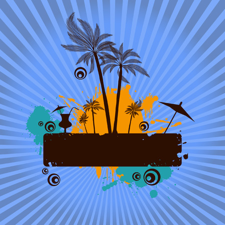 Vector - Summer island illustration with palm tress and starburst. Place for text. Vector