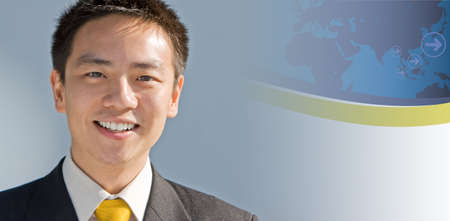 asian business man: Handsome asian business man with a modern technology background