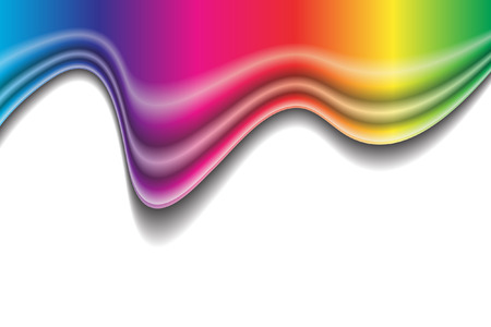 vector waves: Vector - Rainbow liquid forming a wave. No gradient mesh used.