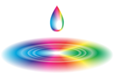 Vector - Rainbow liquid forming a wave ripple. No gradient mesh used. Illustration