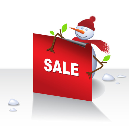 Vector - Cute christmas snowman holding a card, text can be inserted. Vector