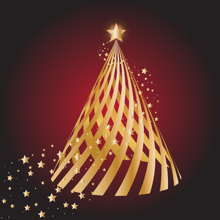 glisten: Vector - Gold christmas tree with star circling Иллюстрация