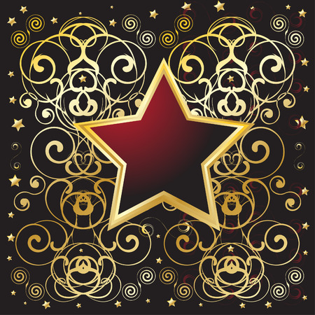 Vector - Golden shield with floral pattern, text messages can be inserted Vector