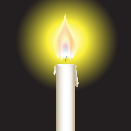 Vector - Illustration of a bright glowing candle with fire or flame Vector