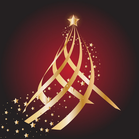 circling: Vector - Gold christmas tree with star circling Illustration