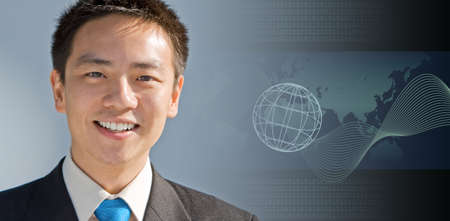 Handsome asian business man with a modern technology background Stock Photo - 4000370
