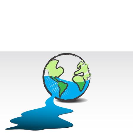ahorrar agua: Vector - Dying planeta, filtraciones de agua desde el concepto de la Tierra. Vectores
