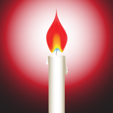Vector - Illustration of a bright glowing candle with fire or flame Stock Vector - 4000374