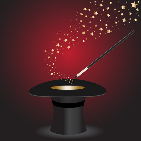 Vector - Magic wand performing tricks on a top hat with stars